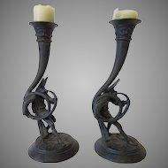 Pair of Vintage Cast Metal Jester Candlesticks