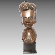 Early 20th Century Carved Folk Art Bust on Fitted Pedestal