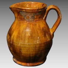 Early 20th Century Jacob Medinger Glazed Redware Pitcher