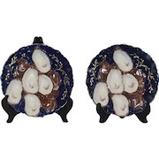 Antique Limoges Haviland & Co. Cobalt Blue and Gold 5 Well Oyster Plate with Turkey Design