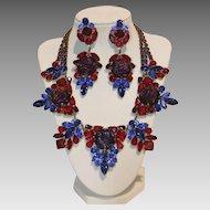 Vintage 1940s Czechoslovakian Glass Dragon's Breath Necklace and Earring Demi-Parure Set