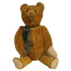"German Schuco 1920s ""Yes-No"" Mechanical Talking Teddy Bear with Original Shoe Button Eyes"