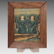 """Antique Historic Folk Art Watercolor Titled """"The Kay Twins"""""""
