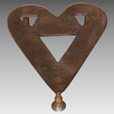 Early Wrought Iron and Brass Heart Shaped Folk Art Trivet