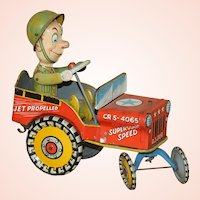 Vintage 1944 Unique Art Manufacturing Co. G.I. Joe and His Jouncing Jeep Tin Lithographed Wind-up Toy