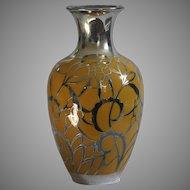 1950's Friedrich Wilhelm Spahr Co. Silver Overlay on an Edelstein Bavaria Porcelain Vase