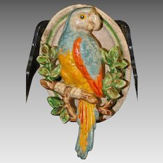 1930's Era Colorful Cast Iron Parrot Door Knocker