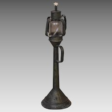 Early 19th Century Tin and Blown Glass Whale Oil Lamp