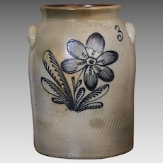 Mid 19th Century  Stoneware Crock with Cobalt Floral Slip Decoration by Renowned German Potter Frederick Stetzenmeyer