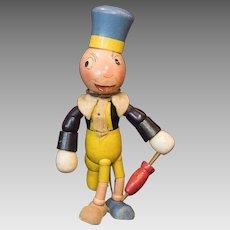 Original Jointed and Painted Wood Disney Jiminy Cricket Toy Made By The Ideal Novelty & Toy Company