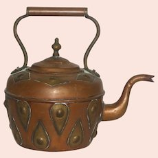 Late 19th Century Hand Crafted Arts and Crafts Style Copper Teakettle