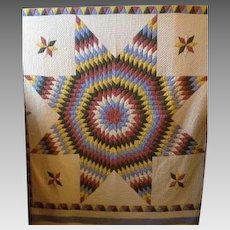 Early 1900s Hand Sewn American Star Quilt