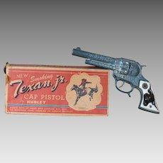 1950's Era Hubley Manufacturing Co Texan Jr. Cast Iron Cap Gun With Original Box