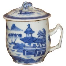 Circa 1840 Antique Chinese Export Blue and White Canton Syllabub with Entwined-Strap Handle and Berry Finial on Lid