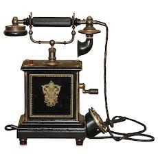 Antique Telephone marked ALLM. TELEFON  A.-B. by L.M. Ericsson & C0. Stockholm, Sweden