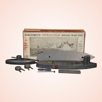 1915 Schoenhut Submarine And Dreadnought Naval War Toy With Box