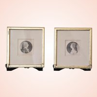 Ca. 1808 Pair of Framed Physionotrace Etchings by Charles Saint-Memin