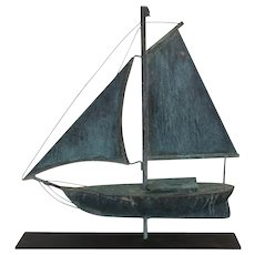 Highly Detailed Hand Crafted Folk Art Copper Sailboat Weathervane