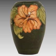 Signed Moorcroft Art Pottery Hibiscus Vase