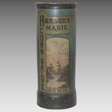 Antique Hanson's Magic Corn Salve Promotional Umbrella Stand