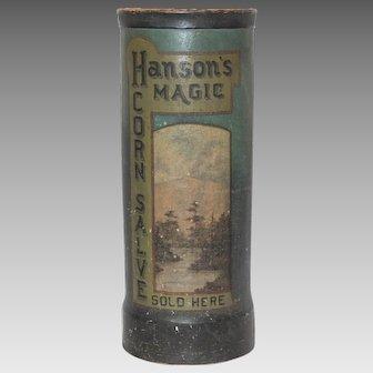 Antique Hanson's Magic Corn Salve Promotional Umbrella Stand