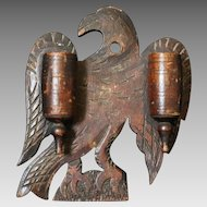 Late 19th C. Folk Artist Carved Eagle Double Barrel Match Holder