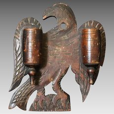 Late 19th C. Folk Artist Carved Eagle Double Barrel Match Holder