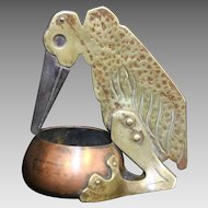 Renaud & J. Clermont Brass and Copper Exotic Bird Cigar Cutter with Attached Ashtray