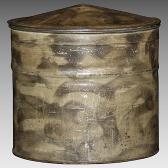 Pennsylvania Smoke Decorated Tin Storage Container With Domed Lid