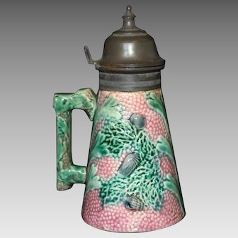 Antique Etruscan Majolica Shell and Seaweed Pattern Lidded Syrup Pitcher
