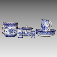 "Antique English circa 1910 Royal Doulton ""Oyama"" Blue and White Porcelain Wash Set"