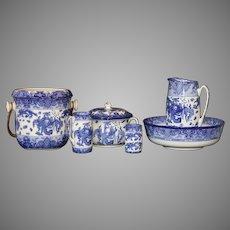 "Antique English circa 1910 Royal Doulton ""Oyama"" Blue and White Porcelain Wash Set"