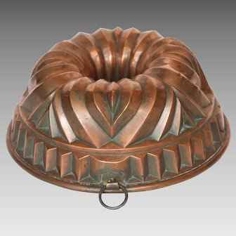 19th Century Tin Lined English Copper Culinary Mould