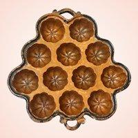 Antique Redware Twelve Well Muffin Mold