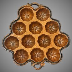 Antique Redware Twelve Well Muffin Mold