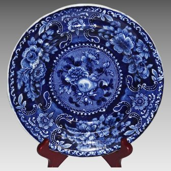 Early 19th Century Stubbs & Kent Longport Blue and White Staffordshire Plate