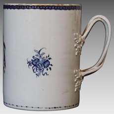 Late 18th Century Hand Painted Porcelain Chinese Export Mug