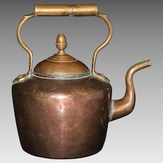 Late 19th Century Hand Wrought Copper Teakettle