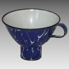 Vintage Cobalt Blue and White Splatter Enamelware Canning Funnel