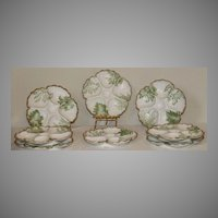 T&V Limoges Five Well Oyster Plate Decorated for Higgins & Seiter in New York