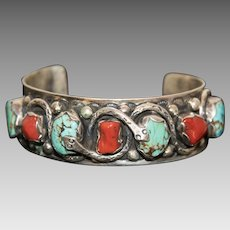 Vintage Native American Sterling Silver Turquoise and Coral Men's Snake Cuff Bracelet