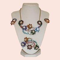 Vintage Swarovski Rhinestone Demi-Parure Necklace Brooch and Earring Set