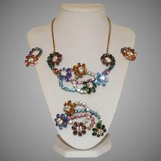 Vintage Swarovski Rhinestone Demi-Parure Necklace Brooch and Earring Set