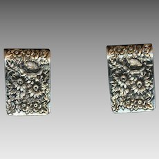 "Pair of Sterling Silver ""Repousse"" Napkin Clips by S. Kirk & Son"