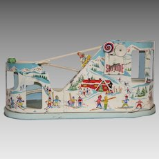 "J. Chein & Co. Colorful Tin Lithographed ""Ski Ride"" Toy"