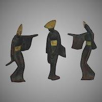 Mid Century Grouping of Three Cast Iron Japanese Geisha Figurines