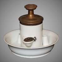 Antique French White Porcelain Pump Inkwell