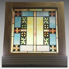 Wood Framed Piece of Stained Glass Art