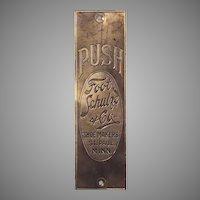 Foot, Schulze & Co Shoe Makers Solid Brass Door Push Plate