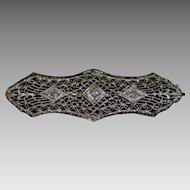 Victorian Era 10K White Gold Filigree Bar Pin with Diamond Accents